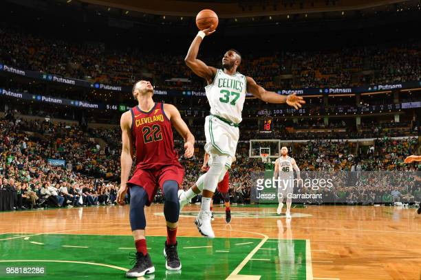 Semi Ojeleye of the Boston Celtics shoots the ball against the Cleveland Cavaliers during Game One of the Eastern Conference Finals of the 2018 NBA...