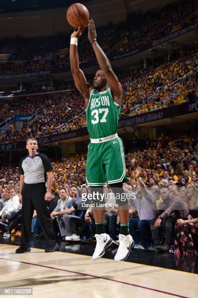 Semi Ojeleye of the Boston Celtics shoots the ball against the Cleveland Cavaliers during Game Four of the Eastern Conference Finals of the 2018 NBA...