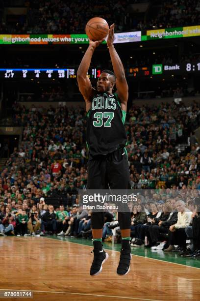 Semi Ojeleye of the Boston Celtics shoots the ball during the game against the Orlando Magic on November 24 2017 at the TD Garden in Boston...