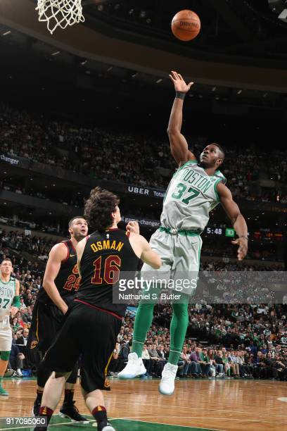 Semi Ojeleye of the Boston Celtics shoots the ball during the game against the Cleveland Cavaliers on February 11 2018 at TD Garden in Boston...