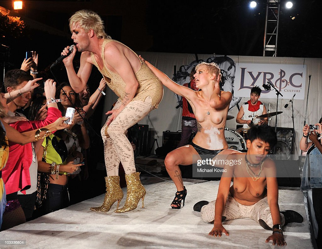 nude on stage Semi Precious Weapons lead singer Justin Tranter performs with models  onstage during the Lyric Culture '