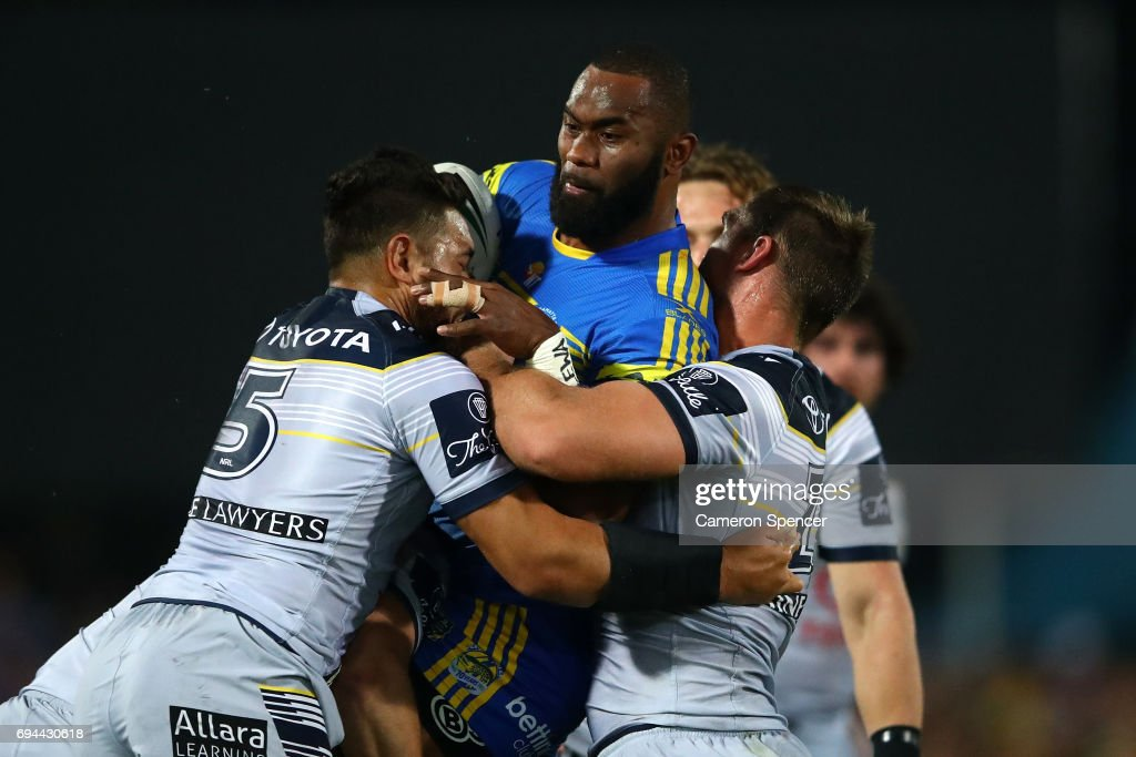 Semi Radrada of the Eels is tackled during the round 14 NRL match between the Parramatta Eels and the North Queensland Cowboys at TIO Stadium on June 10, 2017 in Darwin, Australia.