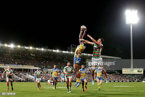 Semi Radrada of the Eels takes a high ball during the round 10 NRL match between the Parramatta Eels and the South Sydney Rabbitohs on May 13 2016 in...