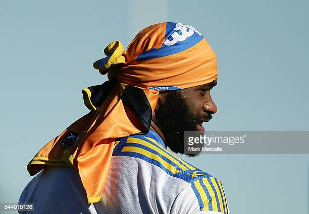 Semi Radradra looks on during a Parramatta Eels training session at the Eels Training Centre on July 1 2016 in Sydney Australia