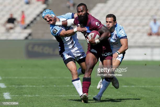 Semi Radradra of Bordeaux in action during the French Top 14 match between Union Bordeaux Begles and Montpellier Herault Rugby at Stade ChabanDelmas...