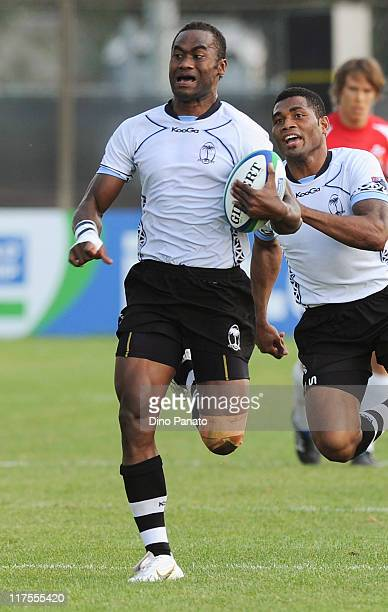 Semi Radradra of Fiji runs with the ball during the IRB Junior World Championship match between Wales and Fiji at Plebiscito Stadium on June 22 2011...