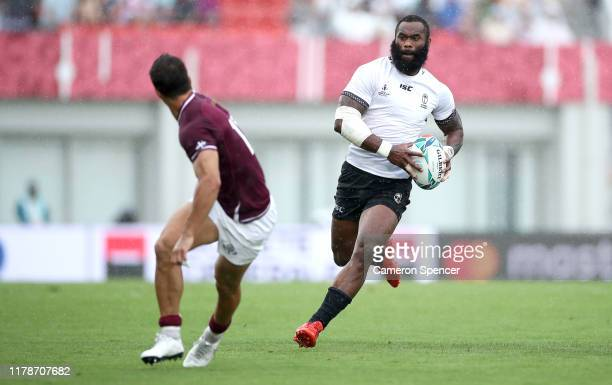 Semi Radradra of Fiji runs with the ball during the Rugby World Cup 2019 Group D game between Georgia and Fiji at Hanazono Rugby Stadium on October...