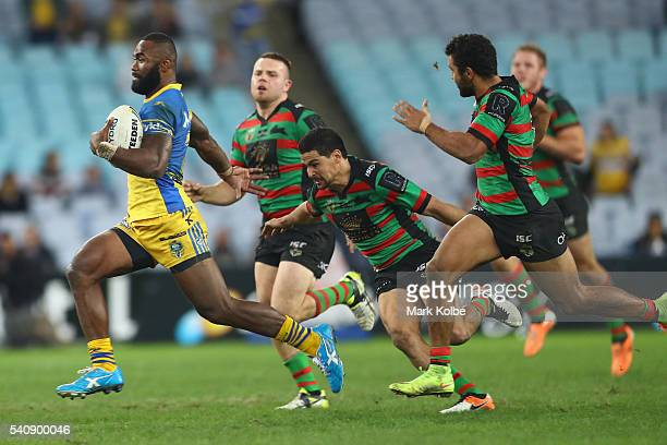 Semi Radradra of the Eels breaks away to score a try during the round 15 NRL match between the South Sydney Rabbitohs and the Parramatta Eels at ANZ...