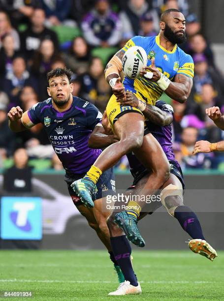 Semi Radradra of the Eels catches the ball during the NRL Qualifying Final match between the Melbourne Storm and the Parramatta Eels at AAMI Park on...