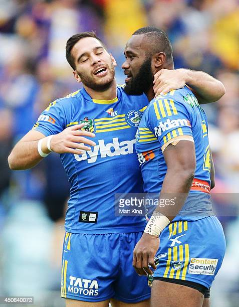 Semi Radradra of the Eels celebrates with Corey Norman after scoring a try during the round 14 NRL match between the CanterburyBankstown Bulldogs and...