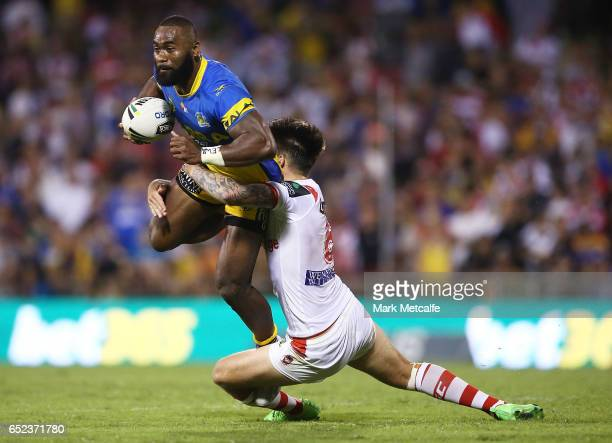 Semi Radradra of the Eels is tackled by Gareth Widdop of the Dragons during the round two NRL match between the St George Illawarra Dragons and the...
