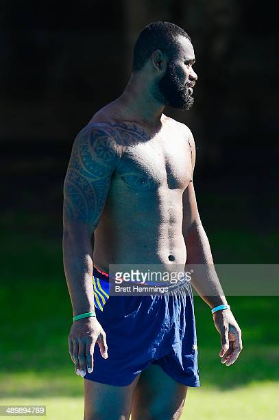 Semi Radradra of the Eels looks on during a Parramatta Eels NRL recovery session at Pirtek Stadium on May 13 2014 in Sydney Australia