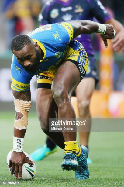 Semi Radradra of the Eels scores a try during the NRL Qualifying Final match between the Melbourne Storm and the Parramatta Eels at AAMI Park on...
