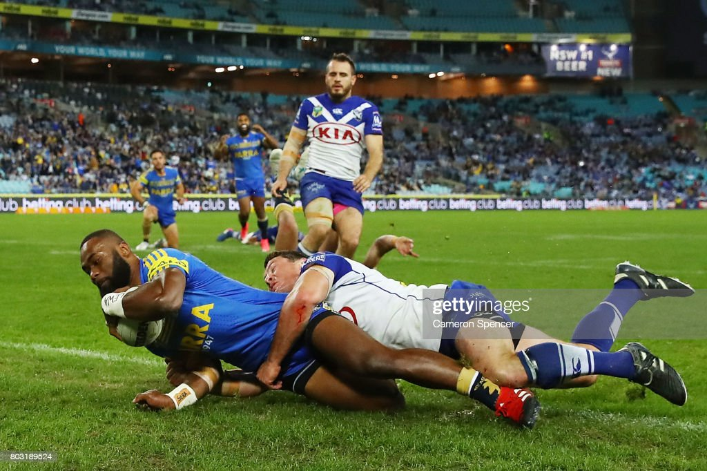 Semi Radradra of the Eels scores a try during the round 17 NRL match between the Parramatta Eels and the Canterbury Bulldogs at ANZ Stadium on June 29, 2017 in Sydney, Australia.