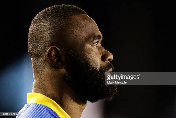 Semi Radradra of the Eels warms up before the round 17 NRL match between the Cronulla Sharks and the Parramatta Eels at Southern Cross Group Stadium...