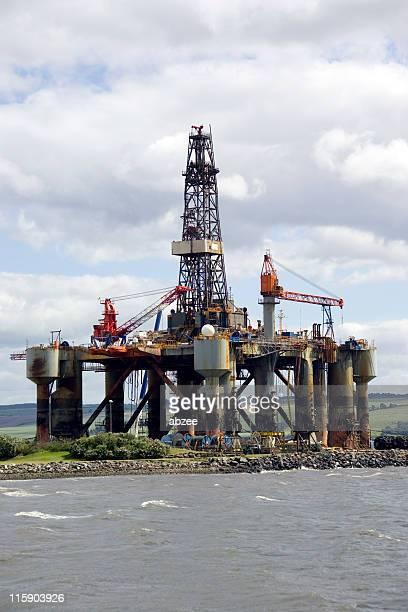 Semi submersible oil platform at repair yard
