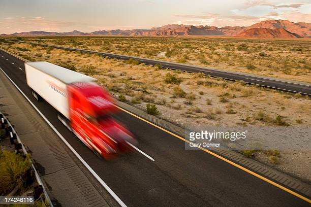 Semi trailer truck on the road