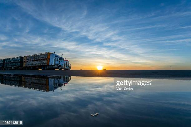 semi trailer truck silhouette and reflection against the morning sunrise with white clouds and blue sky - extreme weather stock pictures, royalty-free photos & images