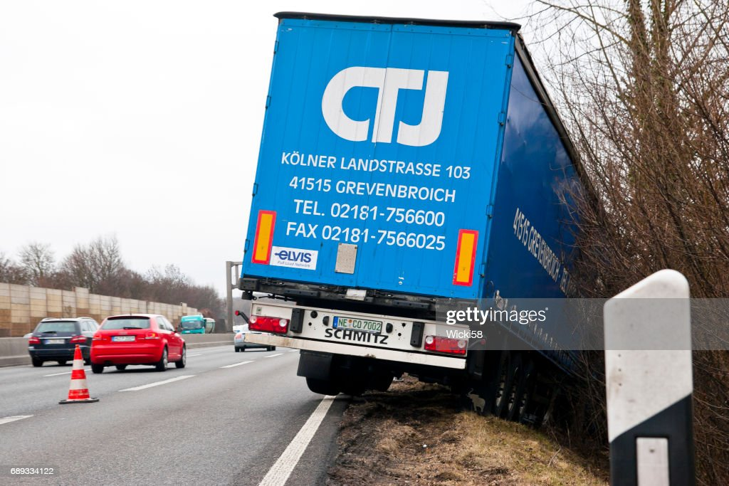 Semi truck accident on the highway : Stock Photo