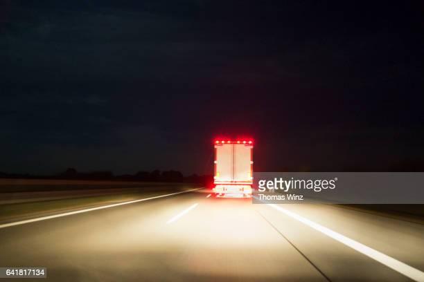 Semi Truck at Night , Freeway