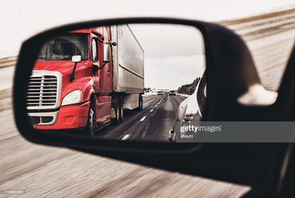 Semi Truck in Mirror : Stock Photo