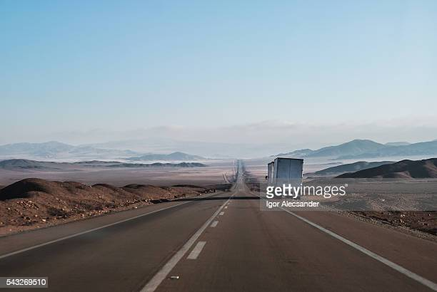 semi truck parked at side of the road, atacama desert, atacama, chile - struggle stock pictures, royalty-free photos & images