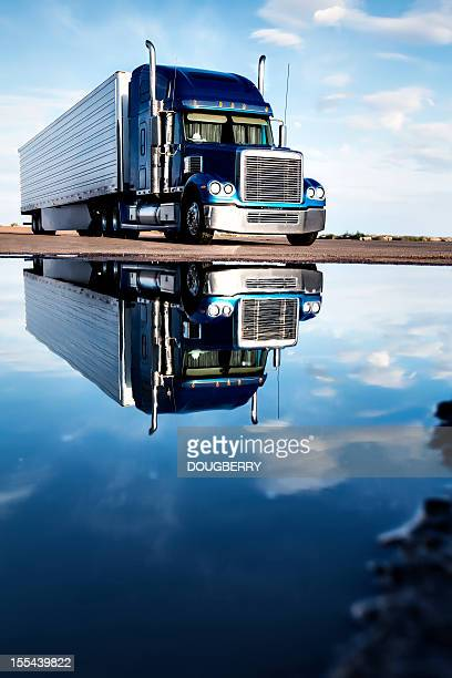semi truck reflection - trucking stock pictures, royalty-free photos & images