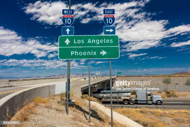 Semi Truck with fuel drives on Interstate 10 from Los Angeles California to Phoenix Arizona