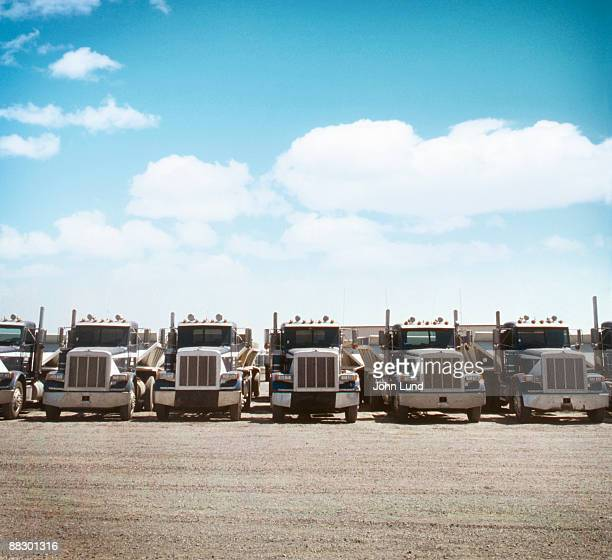 Semi trucks parked