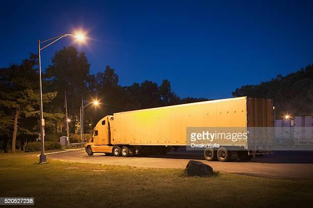 Semi Trucks Parking at a Rest Stop
