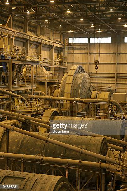 A semiautogenous mill back and ball mills front grind gold ore into a fine slurry or powder in Mill 5 at Newmont Mining Corp's Carlin/Gold Quarry...