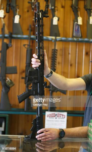 Semi-automatic AR-15 is shown at Good Guys Guns & Range on February 15, 2018 in Orem, Utah. An AR-15 was used in the Marjory Stoneman Douglas High...