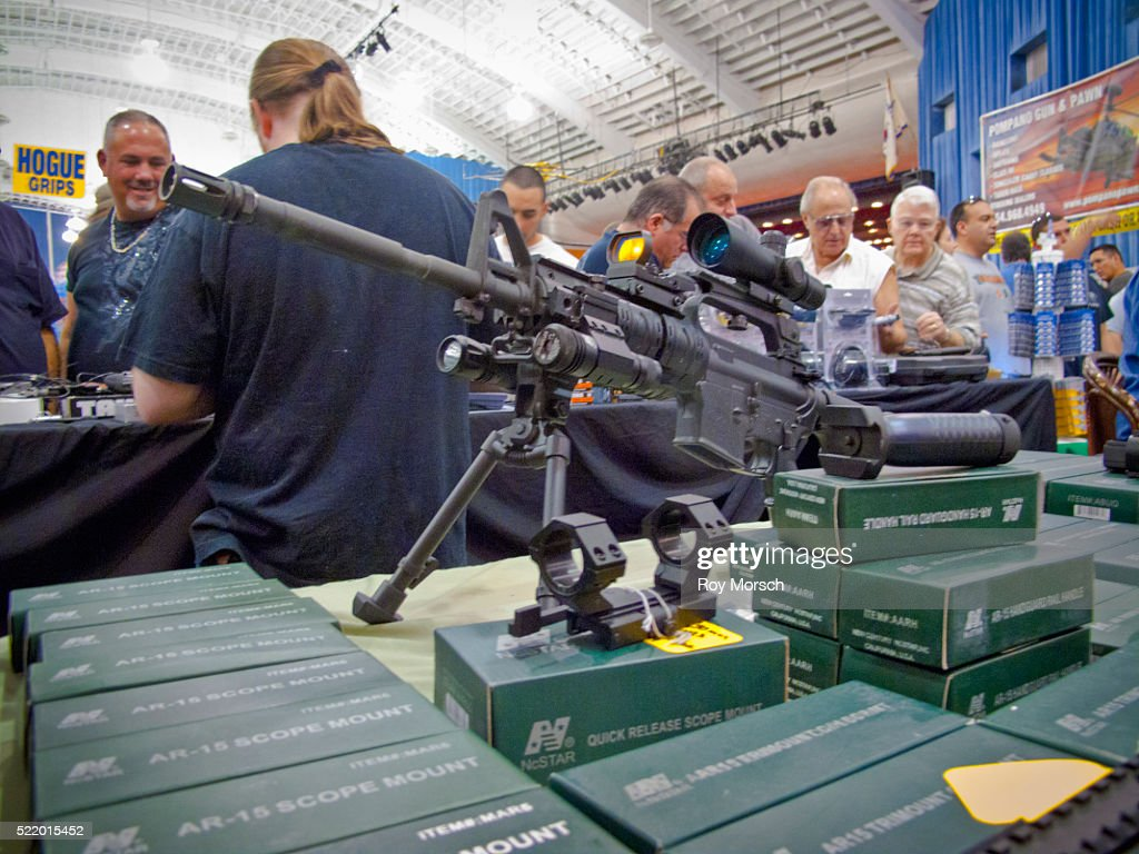 Semi-automatic Assault Rifle, AR-15 with Scopes for Sale at Gun Show : Stock Photo