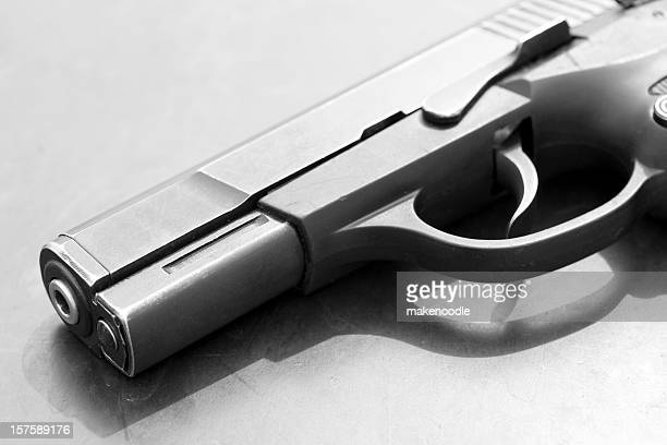 b&w semi-automatic handgun pistol - handgun stock pictures, royalty-free photos & images