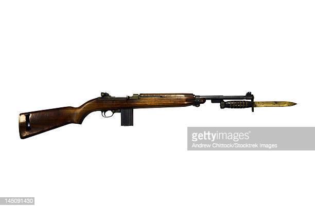 Semi-automatic M1 Carbine, a standard firearm for the U.S. military in the World War II era.