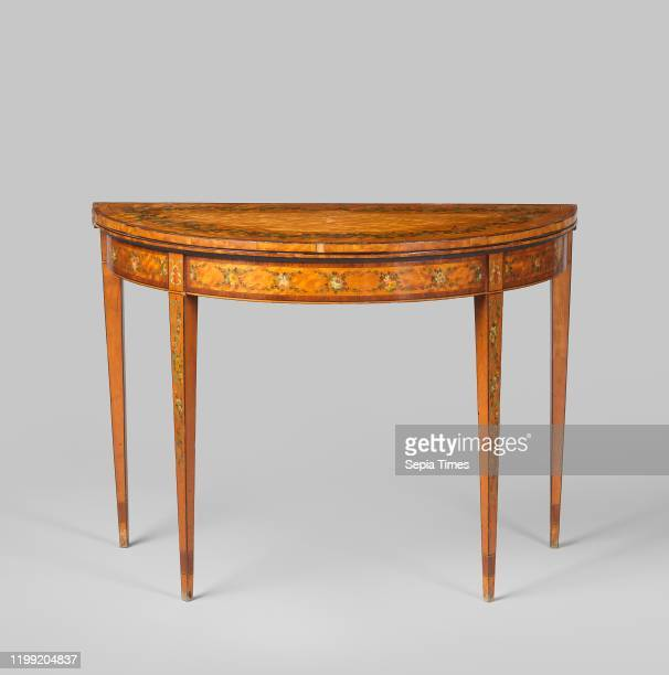 Semicircular card table, Two semicircular card tables with fold-out tops, resting on four conical, square-sectioned legs, the two hind legs of which...