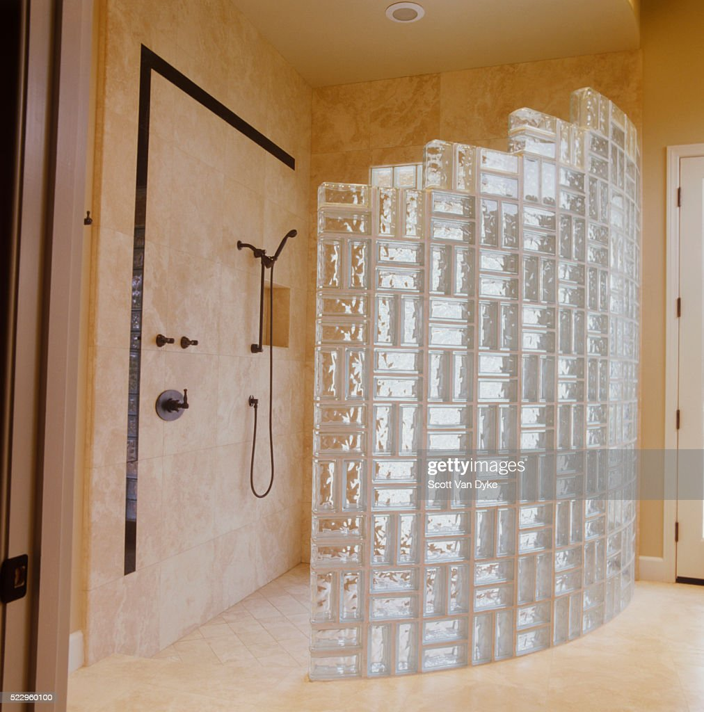 Semicircular marble shower with glass block wall stock for Acrylic block wall