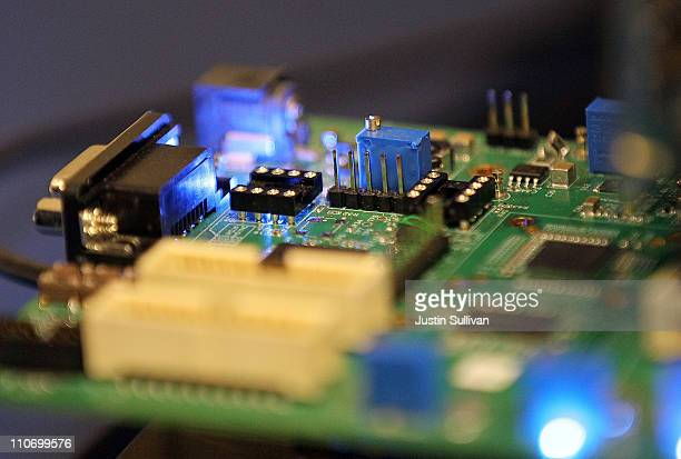 Semiconductors are seen on a circuit board that powers a Samsung video camera at the Samsung MOBILE-ization media and analyst event on March 23, 2011...