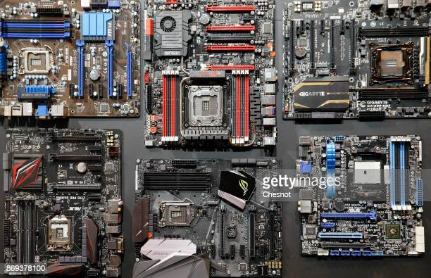 Semiconductors manufactured by the Intel company are displayed during the 'Paris Games Week' on November 02 2017 in Paris France Intel is the world's...
