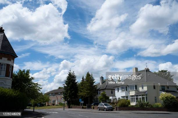 Semidetached houses under a beautiful cloud filled sky in Moseley on 13th June 2020 in Birmingham United Kingdom Moseley is a suburb of south...