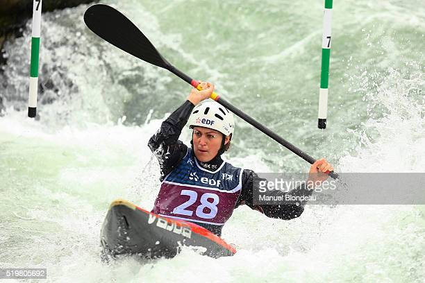 SemiFinal K1 Women Elise Pierron of France during the Olympics Selection on Canoe Kayak slalom at Stade d'Eaux Vives PauPyrenees on April 8 2016 in...
