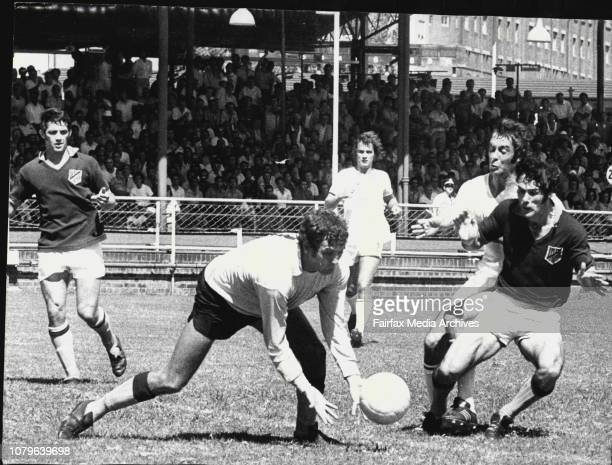 Semifinal of Ampol Cup Soccer at Wentworth ParkAPIA Lichhardt Vs St George Budapest John Roberts March 3 1974