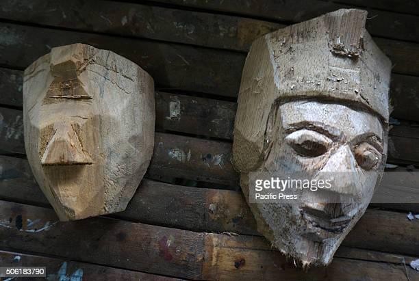 Semifinished mask puppet souvenir in Padepokan Art Mask Asmoro Bangun Pakisaji Malang East Java There are 76 types of Crafts Mask characters in Panji...