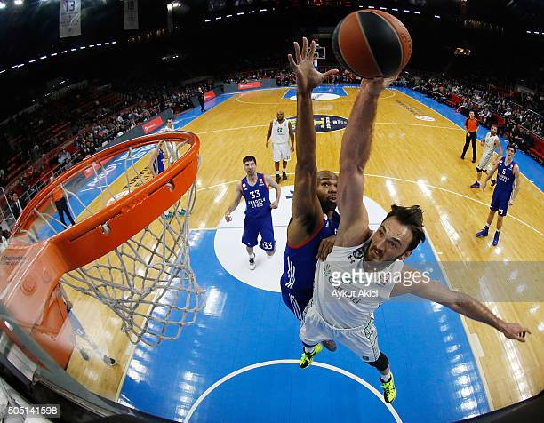Semih Erden #9 of Darussafaka Dogus Istanbul in action during the Turkish Airlines Euroleague Basketball Top 16 Round 3 game between Anadolu Efes...