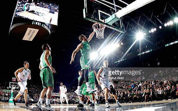 Semih Erden #9 of Darussafaka Dogus Istanbul in action during the 20152016 Turkish Airlines Euroleague Basketball Top 16 Round 8 game between...
