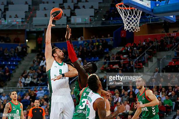 Semih Erden #9 of Darussafaka Dogus Istanbul in action during the 2016/2017 Turkish Airlines EuroLeague Regular Season Round 11 game between Baskonia...