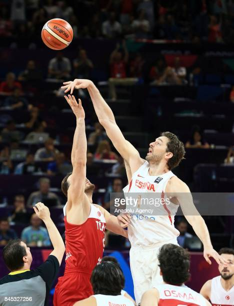 Semih Erden of Turkey in action against Pau Gasol of Spain during the FIBA Eurobasket 2017 Round 16 basketball match between Turkey and Spain at...