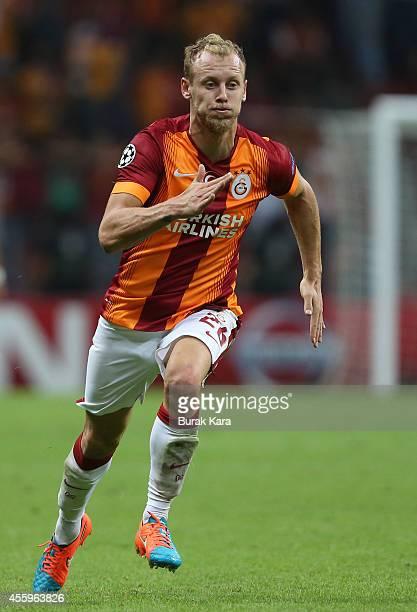 Semih Kaya of Galatasaray runs during the UEFA Champions League group D match between Galatasaray AS and RSC Anderlecht on September 16 at TT Arena...
