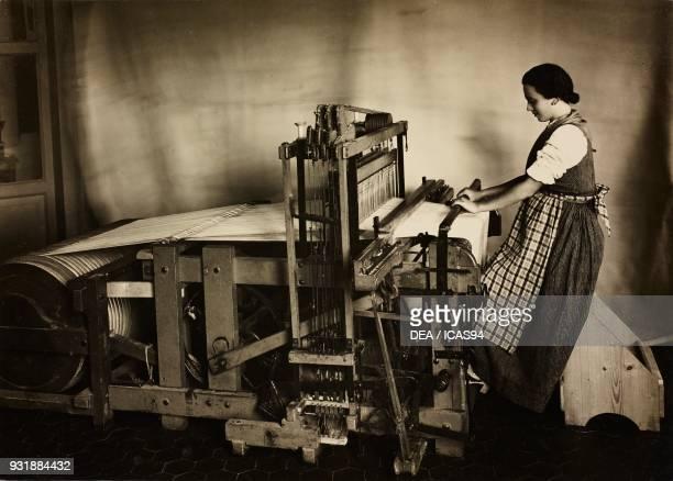 Semimechanical loom with Meneghini warping machine Italy 20th century