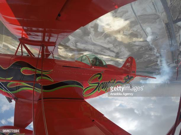 Semin Ozturk, Turkey's first professional female aerobatic pilot performs a demonstration flight with her 'Pitts S2-B' plane that has Lycoming engine...